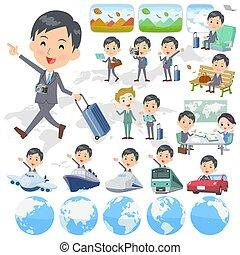 Gray Suit Businessman travel