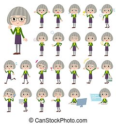 green shirt old women_1 - Set of various poses of green...