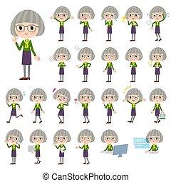 green shirt old women_1 - Set of various poses of green...