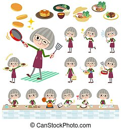 green shirt old women_cooking - Set of various poses of...