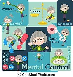 green shirt old women_Mental & volition - Set of various...