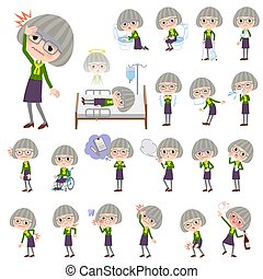 green shirt old women_sickness - Set of various poses of...