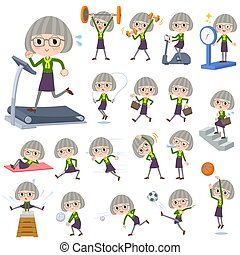 green shirt old women_Sports & exercise - Set of various...