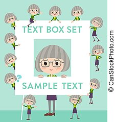 green shirt old women_text box - Set of various poses of...