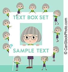 green shirt old women_text box - Set of various poses of...