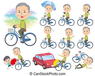 Green vest grandfather ride on city bicycle