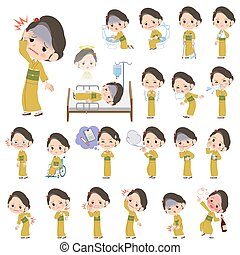 kimono Yellow ocher woman sickness - Set of various poses of...
