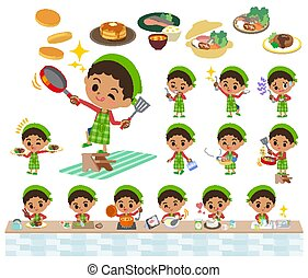 perm hair boy_cooking - Set of various poses of perm hair...