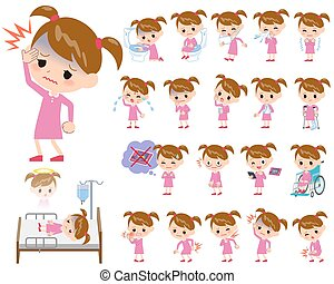 Pink clothing girl About the sickness - Set of various poses...