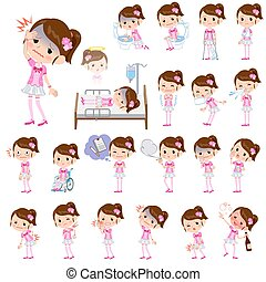 Pop idol in pink costume sickness - Set of various poses of...