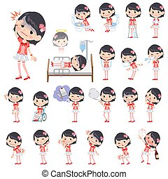Pop idol in red costume sickness - Set of various poses of...