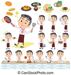 producer middle men_cooking - Set of various poses of...