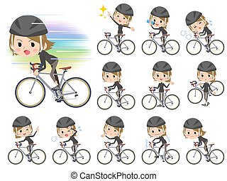 Short hair black high necked women ride on rode bicycle