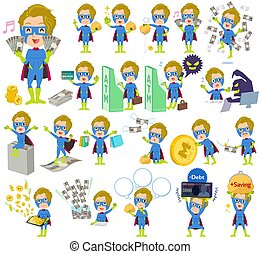 super hero man Blue Green money