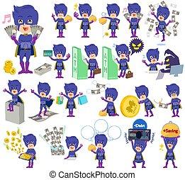super hero man dark purple money