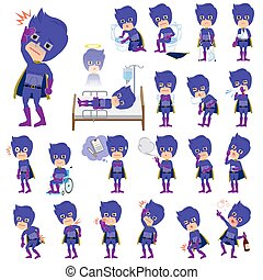 super hero man dark purple sickness - Set of various poses...
