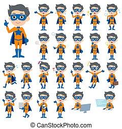 super hero man orange Blue