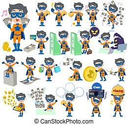 super hero man orange Blue money
