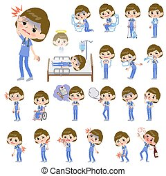 surgical operation blue wear women_sickness - Set of various...