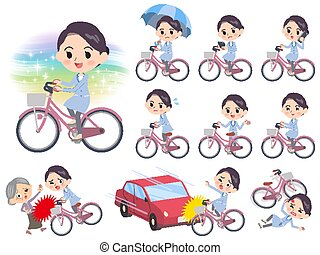 Set of various poses of White coat women city bicycle