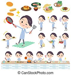 Set of various poses of White coat women cooking
