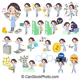 Set of various poses of White coat women money