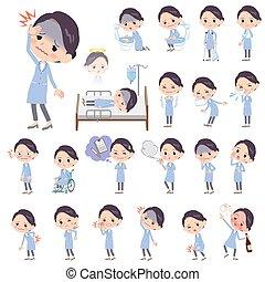 Set of various poses of White coat women sickness