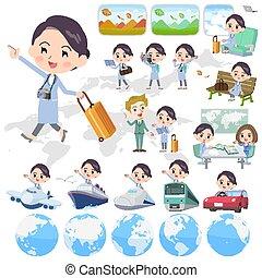 Set of various poses of White coat women travel
