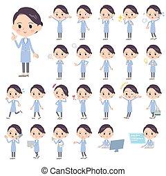 White coat women_1 - Set of various poses of White coat...