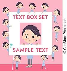 White coat women_text box - Set of various poses of White...
