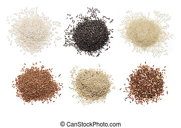Set of various rice