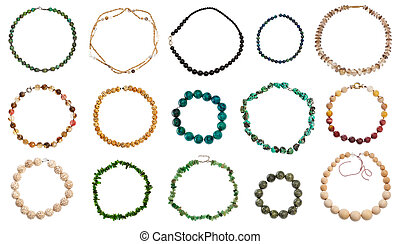 set of various round necklaces isolated