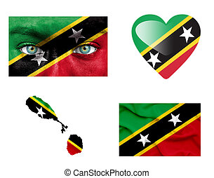 Set of various Saint Kitts and Nevis flags
