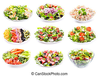 set of various salads