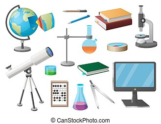 Set of various school objects isolated vector illustration on white. Cartoon style scientific tools, flat screen, textbooks and stationery items