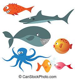 Set of various sea animals