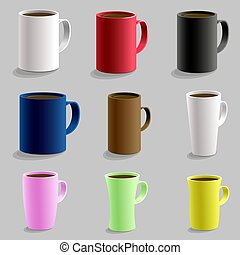 Set of various shaped mug cup for hot drink caffe. Isolated detailed realistic 3d vector with shadow. Black red pink yellow blue white color