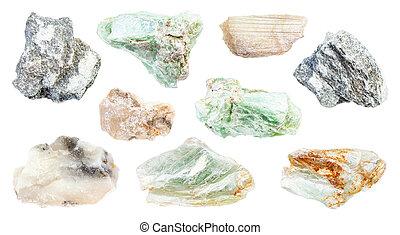 set of various Soapstone (Talc) rocks isolated on white ...
