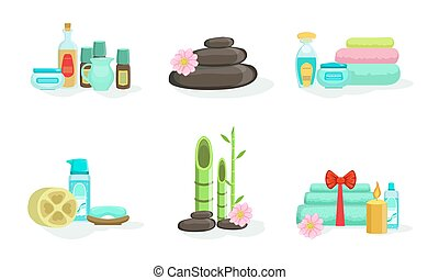 Set of various spa treatments. Vector illustration.