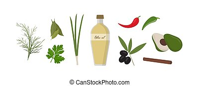 Set of various spices and vegetables. Olive oil bottle surrounded by natural green plants isolated on white background. Salad engredients and a dressing. Colorful vector illustration in flat style.