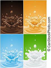 set of various splash drink liquids - illustration