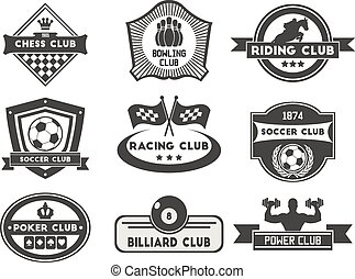 Set of various sports and fitness emblem