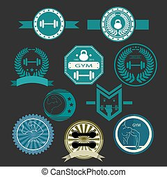 Set of various sports and fitness logo graphics and icons ...