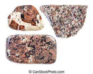 set of various spreusteined rocks isolated