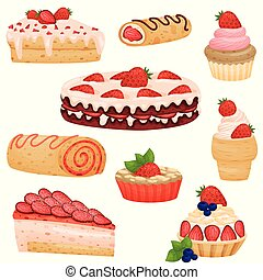 Set of various strawberry pies. Vector illustration on white background.