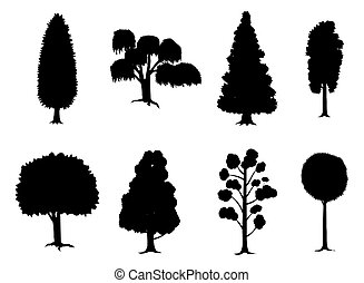 Set of various stylized trees in silhouette