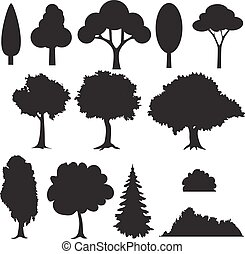 Set of various stylized trees in silhouette.