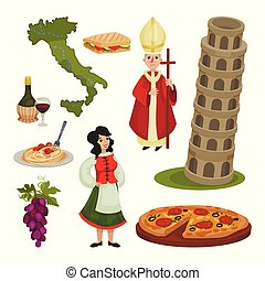 Set of various symbols of Italy. Vector illustration.
