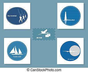 Set of various symbols on a blue ba