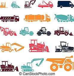 Set of various transportation and construction machinery. Heavy equipment.
